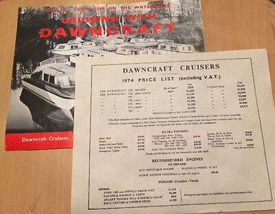 Cruising With Dawncraft Cruisers.dawncraft Price List 1974