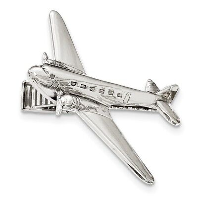Silver-tone Polished Airplane Tie Bar