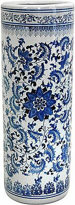 24' Floral Blue and White Porcelain Umbrella Stand