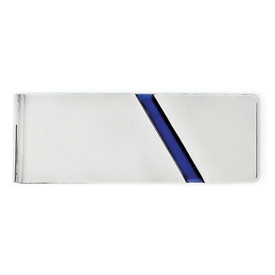 Sterling Silver Rhodium-plated Blue Enameled Money Clip