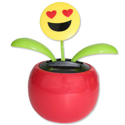 Solar Powered Dancing Emoji Smile Face Flower Plant in Red Pot Toy USA Seller