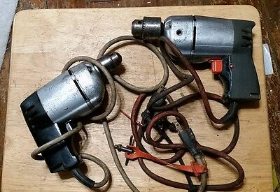 2 Vintage Black Decker Electric Utility Drill antique old tool lot hand drills