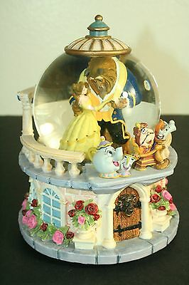 Vintage Disney China Beauty and the Beast musical snowglobe Rose Garden