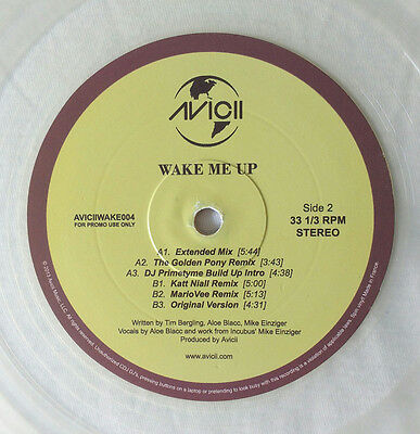 "Avicii "" Wake Me Up "" 12"" Promo ** Coloured Vinyl ** 6 Mixes"