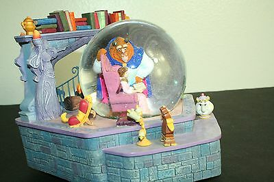 Vintage Rare Disney Beauty and the Beast musical snowglobe Belle Reads to Beast