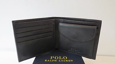 RALPH LAUREN POLO BLACK SOFT PEBBLE LEATHER WALLET with COIN POCKET