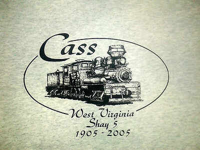 Cass West Virginia Shay 5 Railroad Train Engine Gray T-Shirt L 44 Chest VGUC