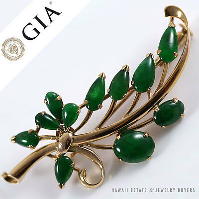 Gia Certified Natural Green Grade A Jade Jadeite Cabochon 14K Yellow Gold Brooch