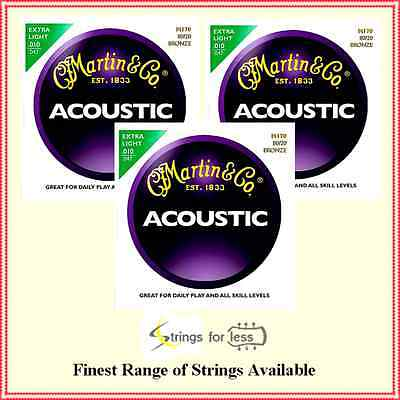 3 x Martin M-170 80/20 Bronze Extra Light Acoustic Guitar Strings   .010 - .047