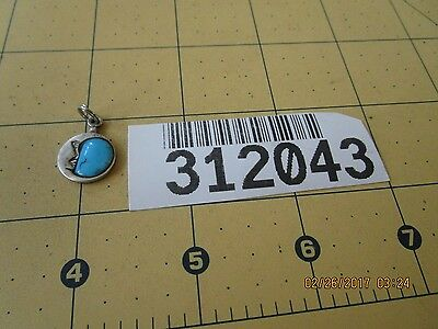 turquoise moon Charm Sterling Silver Vintage 312043