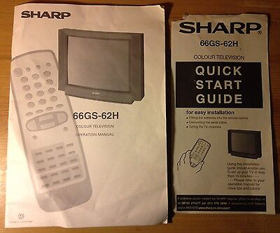 INSTRUCTIONS Operation MANUAL Guide Sharp 66GS-62H Colour TV Television GENUINE