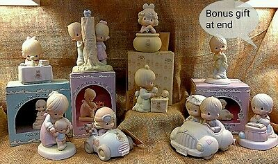 Precious Moments variety of figurines, with a vintage 1989 bonus piece