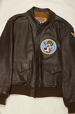 US Air Force Desert Shield USAF A-2 Leather Bomber Flight Jacket Cooper Size 42R