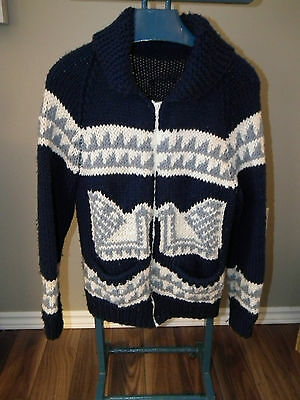 Vintage Mens Womens Cowichan Style Navy Canada Goose Lebowski  Sweater Jacket S