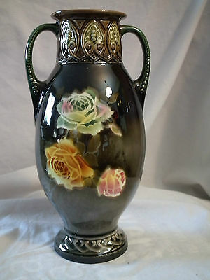 Vintage Antique Porcelain Double Handle Czech Vase Floral