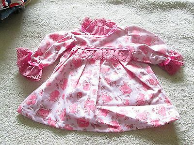 "Handmade Cp 16-18"" Doll  Pink On Pink Printed Flannelette Nightgown New"