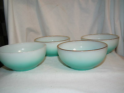 Rare Set Of 4 Vintage Fire-King Turquoise Green Fade Ombre Chili Bowls Gold Trim