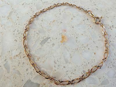 9ct yellow Gold Figaro chain link Bracelet 375 9k