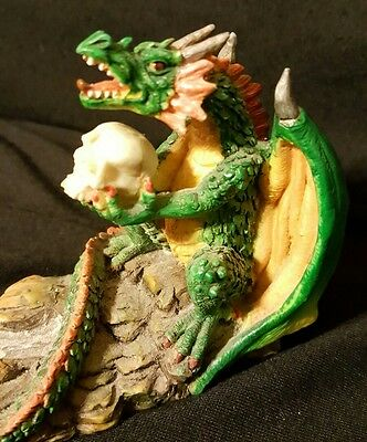 Medeival Dragon Incense Burner Skull Cone burner Green Mystical Mythical 9.5""