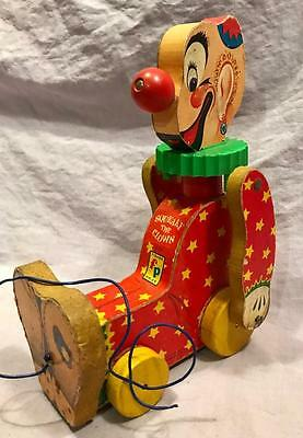 Antique Fisher Price 1960S Vintage Squeaky The Clown Pull Toy