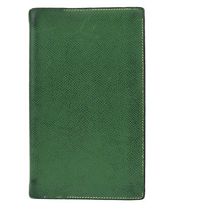 Auth HERMES Logos Vision2 Day Planner Note Cover Leather Green France 08Y968