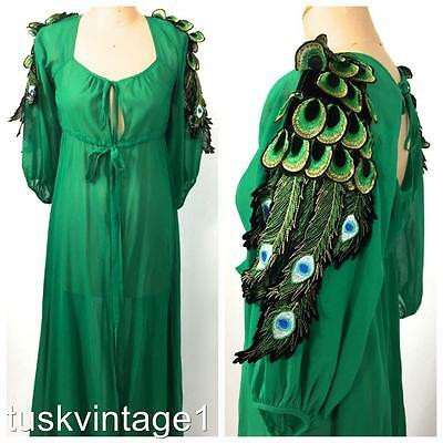 VINTAGE Emerald GREEN sheer PEACOCk appliqué tie up MAXI robe 8 10