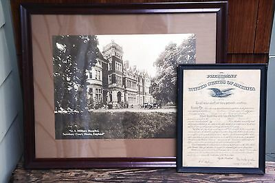 1917 WWI Signed Major Appointment & Large Vintage US Military Hospital Photo