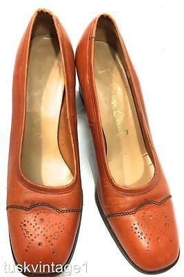 VINTAGE Jane Dempster TAN LEATHER brogue style design BLOCK heel court SHOES 9