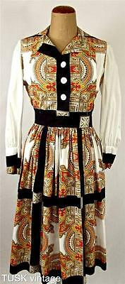 VINTAGE Mid century COTTON black grid stripe gold red PAISLEY design DRESS 10