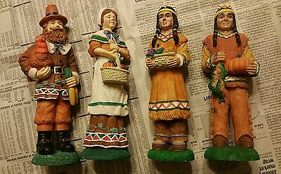 4 Early Americans Thanksgiving Figurines (2 Native Americans & 2 Early Settlers)