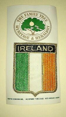 "Vintage Ireland Flag Shield Embroidered Patch 2 3/8"" by 3"" New On Card"