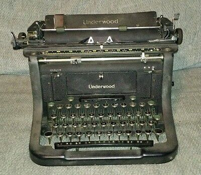 Antique Underwood Champion Typewriter Desktop Black & Green Keys Steampunk