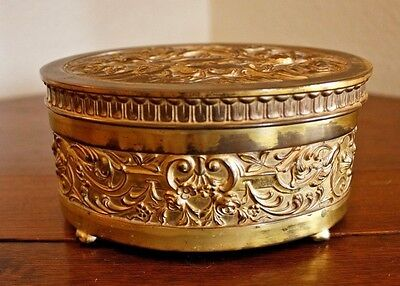 Antique Vtg Fancy Gilt French Style Silk Lined Oval Gold Jewelry Box Casket