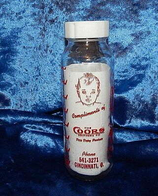 Vintage Glass Coors Brothers Dairy Baby Milk Bottle~Cincinnati~Ohio~1950 N.o.s.