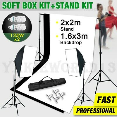 Photography Photo Studio Softbox Lighting Soft Box Light & 2 Backdrops Stand Kit