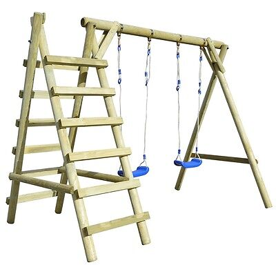 Playground Set 2 Swings with Ladders Kids Children Game Garden Outdoor Pinewood