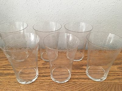 Antique Scroll Circle Etched Glass Tumbler SET Of 6!!! NO RESERVE!