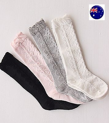 Girl Kid baby White Pink knees Calf High Cotton long Socks Tights 0-24months
