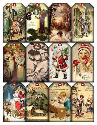 12 Christmas Vintage Art Hang Tags Scrapbooking Paper Crafts (39)