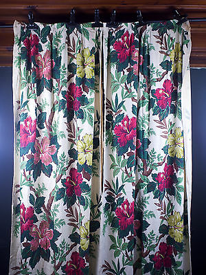 PAIR 1940s Tung Shan Barkcloth Era Curtains w/Hibiscus Flowers Drapes Fabric 82""