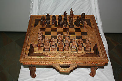 Vintage Handcrafted Wooden Chess Set - Beautiful and Unique - see photos