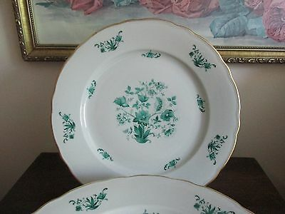 Vintage Bavaria Germany Bayreuth Green Floral Set Of 6 Porcelain Dinner Plate