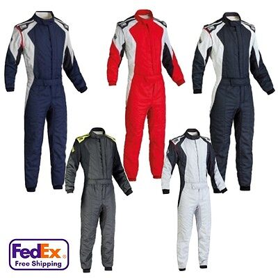 OMP First Evo 1-Piece Double Layer Driving Suit - All Sizes - SFI-3.2A/5 & FIA