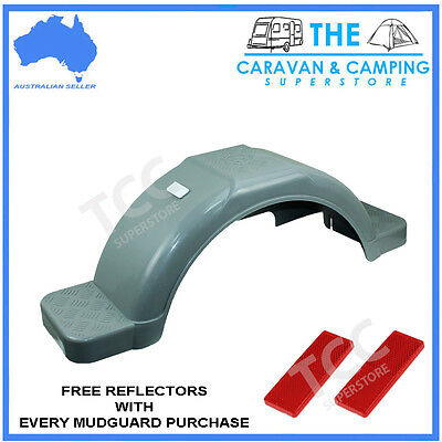 14in Grey plastic guard trailer mudguard with moulded steps
