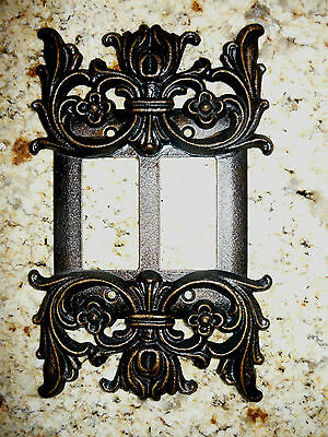 Metal Double Rocker Switch Plate Cover Old World Hand Made Tuscan Medieval Fleur