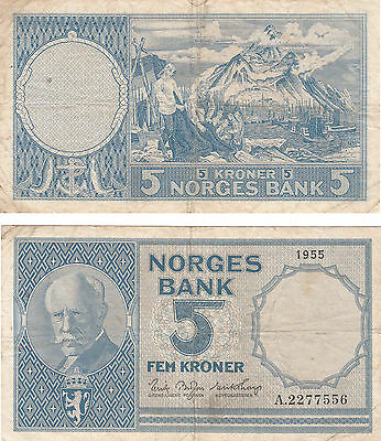 Norges Bank 5 Kroner Banknote,pick#30,1955, # A2277556