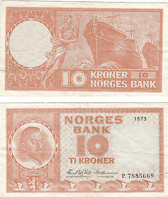 Norges Bank 10 Kroner Banknote,pick#31,1973,#p.7885669