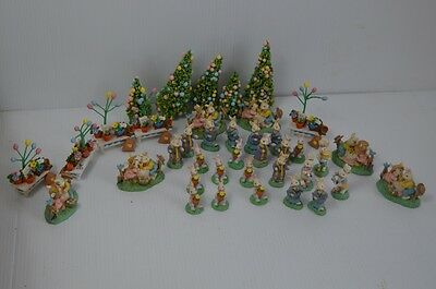 Midwest Of Cannon Falls Large Lot Cottontail Lane Easter Village 39 Figurines