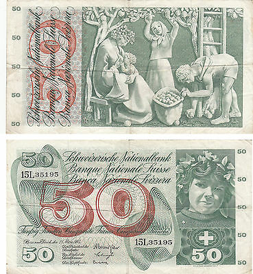 Switzerland 50 Franken Banknote,pick#48,28 Mar,1963,serial #15L 35195