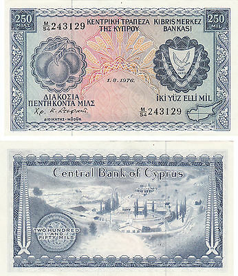Central Bank Of Cyprus 250 Mils  Banknote,pick#41,1.8.1976,~~Cu~~#243129